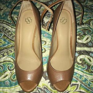 Ann Taylor Wedge Heel Open Toe Pumps, Size 9